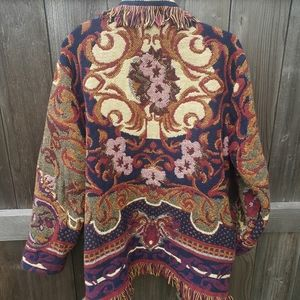 Vintage blanket boho floral carpet fringe coat OS